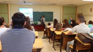 Janet Richardson teaches the Spanish student nurses Jaen 2014